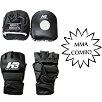 HB HARD BODIES Combo Set of Advanced MMA Grappling Gloves with Synthetic Cuban Focus Pads