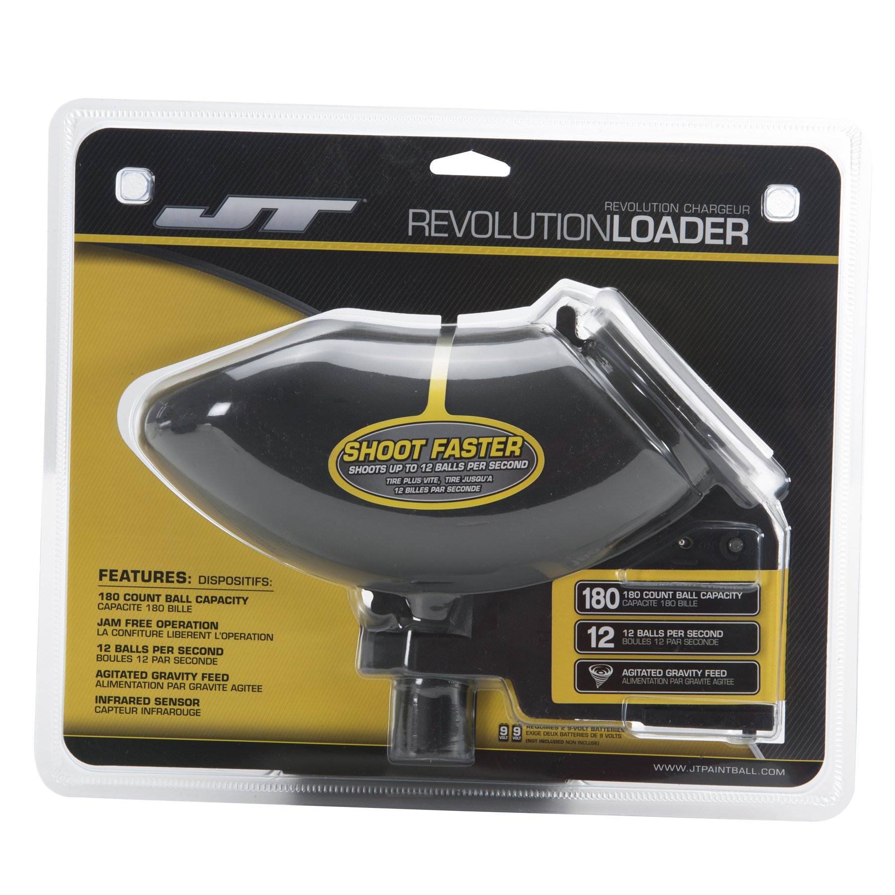 JT Revolution Paintball Loader Electronic Fed Hopper/ Holdsup to 180 Paintballs/ Black by JT