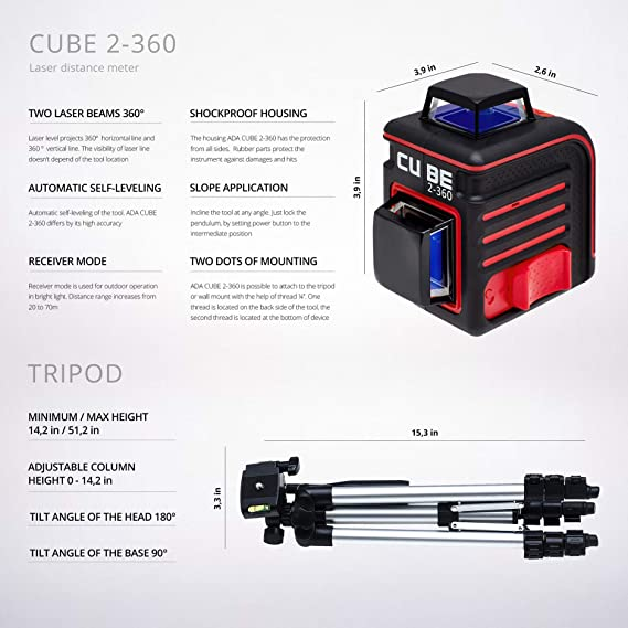 ADA Cube 2 x 360 Professional Edition, Laser Level Kit, Crossline Self-Leveling Laser Level 20 meters (65 feet) and 70 meters (229 feet With Laser Detector) ...