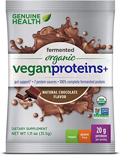Genuine Health Fermented Organic Vegan Proteins , Natural Chocolate Protein Powder, 20g Protein, 15 Single Serving Packets