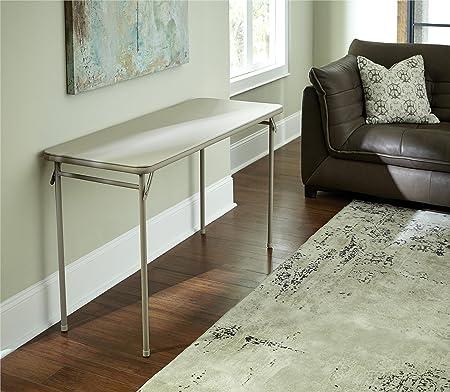 20 x 48-Inch Vinyl Top Folding Serving Table , Off White : Cosco Dorel Industries Rectangle Vinyl Top Folding Serving Table, 20 x 48-Inch, Off White