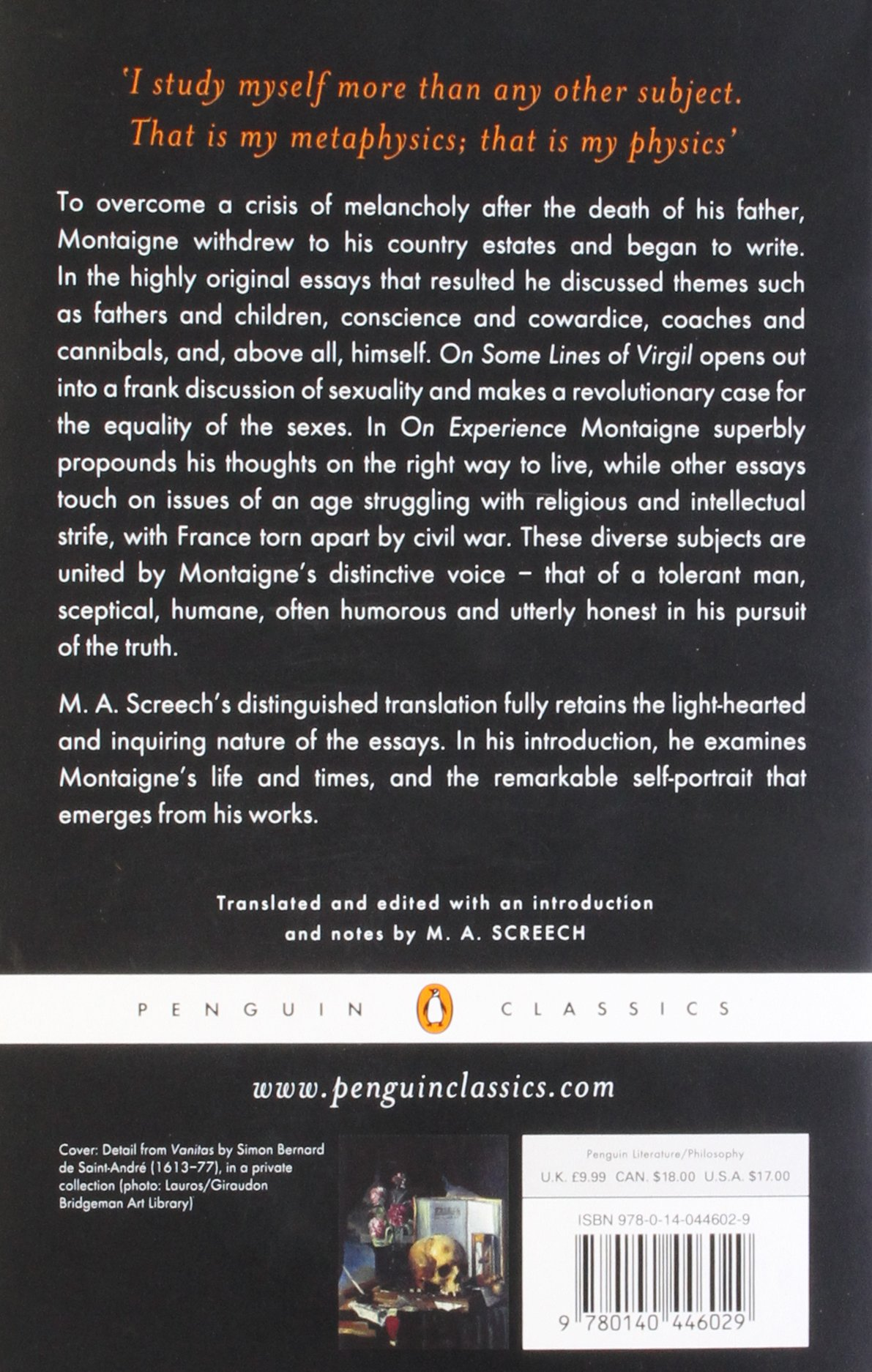the essays a selection penguin classics michel de montaigne the essays a selection penguin classics michel de montaigne m a screech 9780140446029 com books
