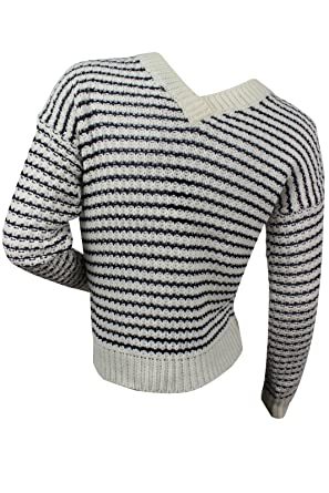 0022f63214 Romeo   Juliet Couture Women s Blue White Striped Sweater at Amazon ...