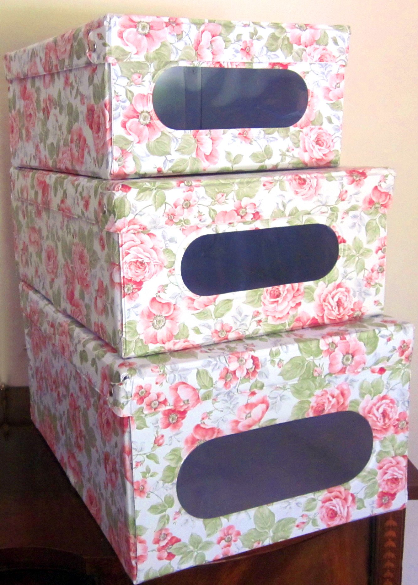 Protect, store, organize, and keep dust out with our sturdy Italian stackable closet storage boxes with hinged lid and window – vinyl covered in and out for EZ cleaning, English Rose design. Set of 3