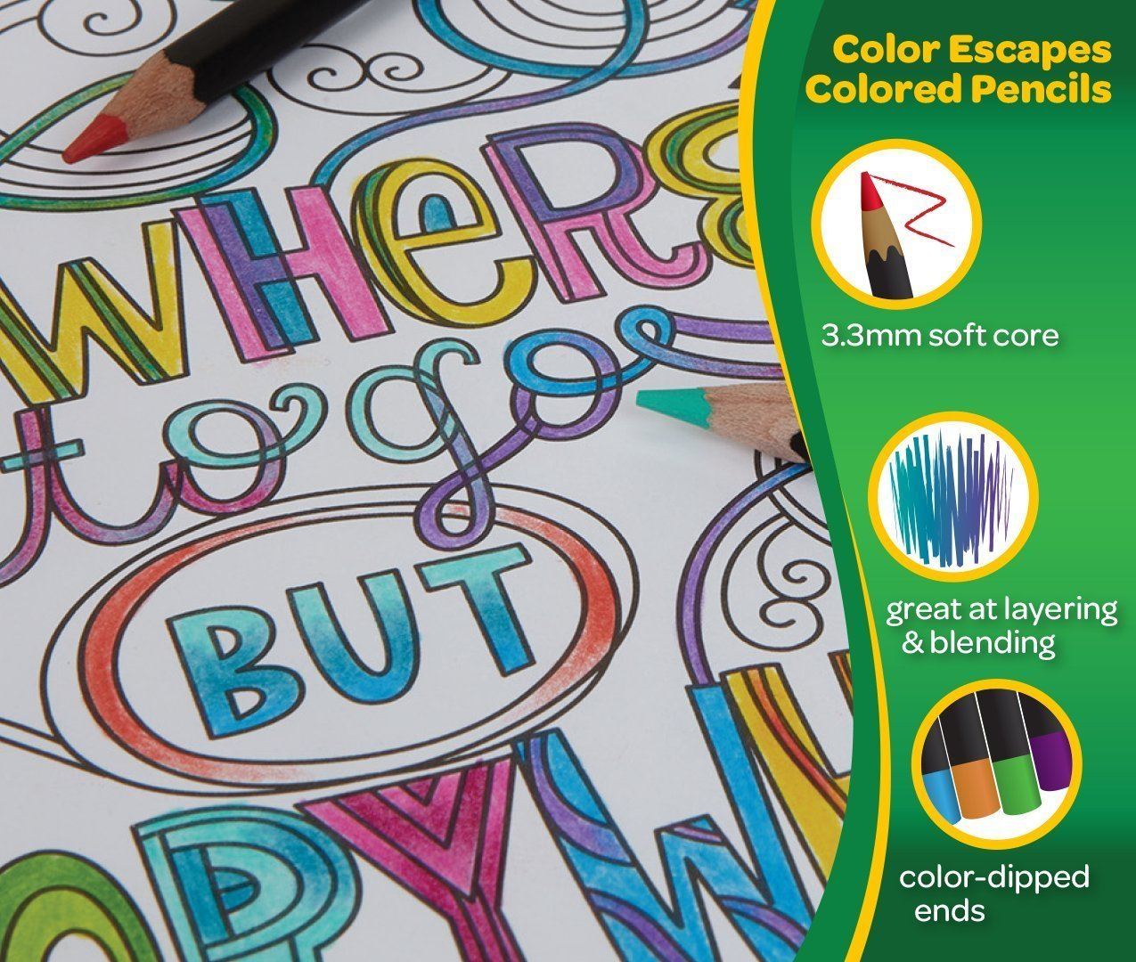 Color Escapes 72 Ct Colored Pencils By Crayola, Great for Adult Coloring. Binney /& Smith 68-1072