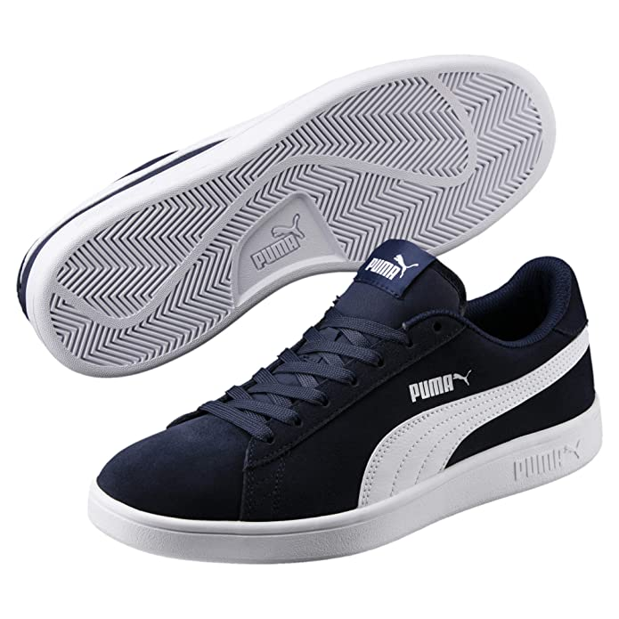 Puma Smash V2 L Sneaker Damen Herren Unisex blau mit weißen Streifen