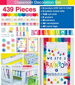 Schoolgirl Style Complete Classroom Decoration Set, Hello Sunshine Classroom Decorations, 423 Pieces