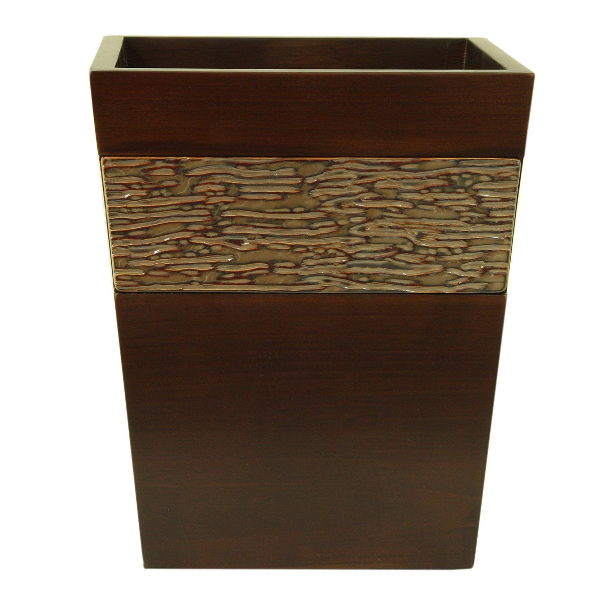 Bacova Guild Lakeside Wood Wastebasket, Brown