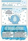 Unique party 8 ballons en latex spécial naissance garçon sur le thème Éléphant tenant un parapluie