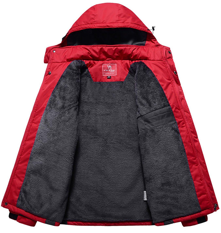 Men's Winter Warm Fleece Lined Ski Coats Outdoor Hooded Waterproof Parka Jacket Black US X-Large / Asian 5XL by HENGJIA (Image #3)