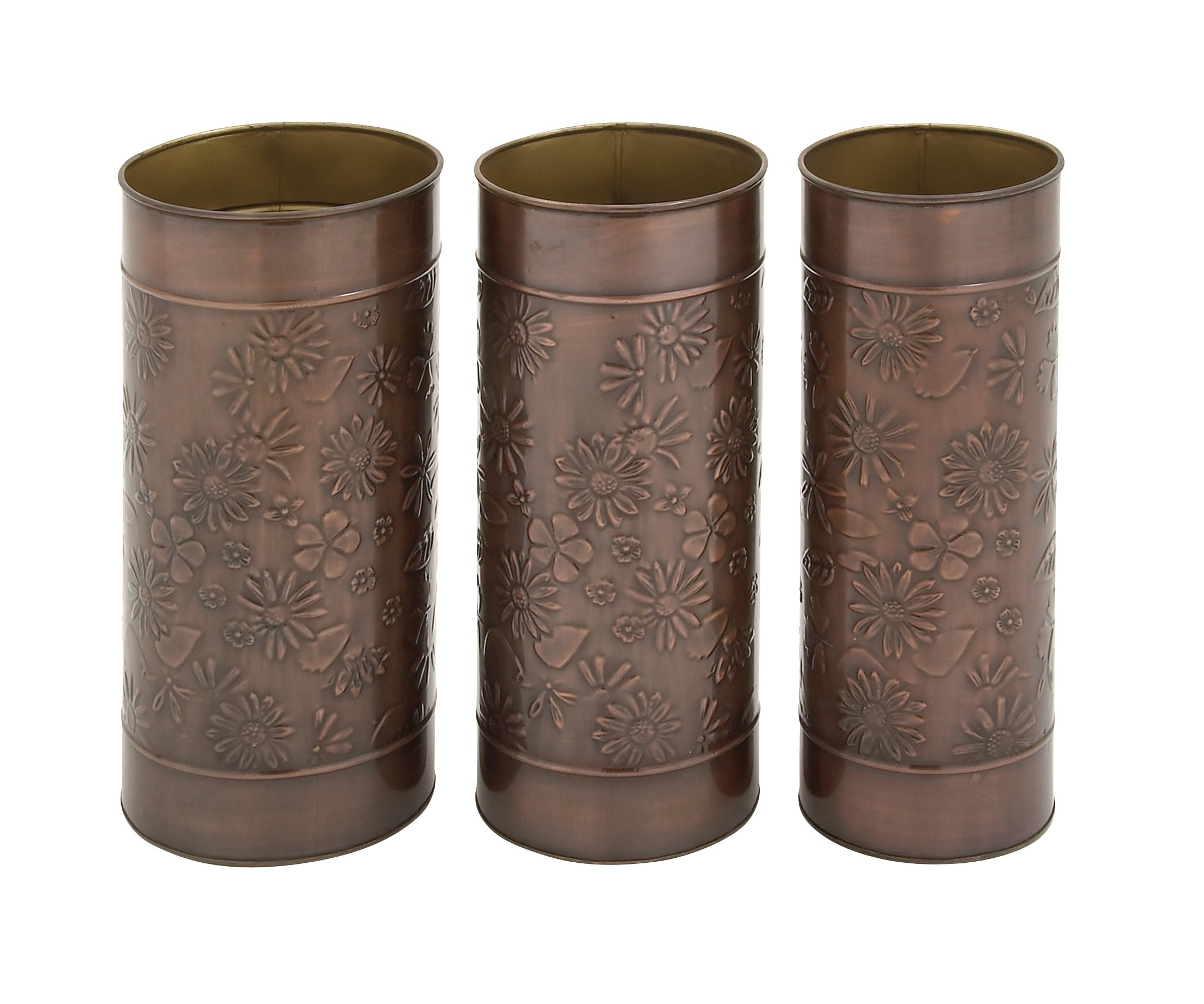 Deco 79 68865 Lovely Floral Themed Umbrella Stand, Set of 3, 9'' W x 19'' H