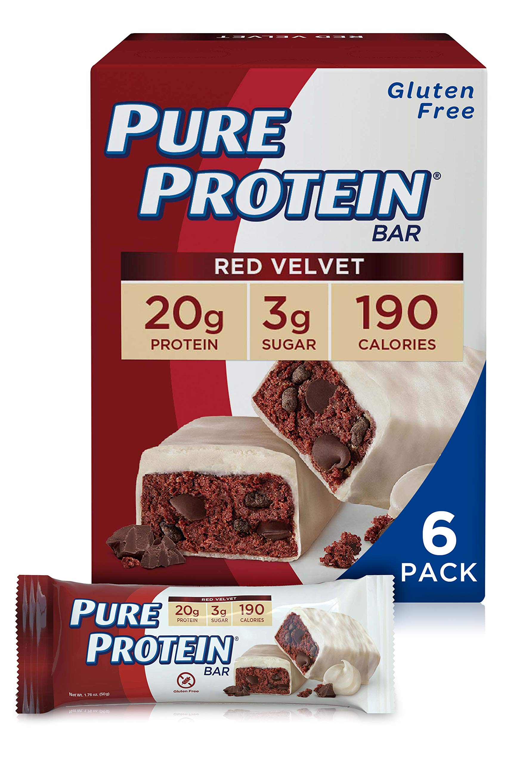 Pure Protein Bars, High Protein, Nutritious Snacks to Support Energy, Low Sugar, Gluten Free, Red Velvet Cake, 1.76 oz, Pack of 6