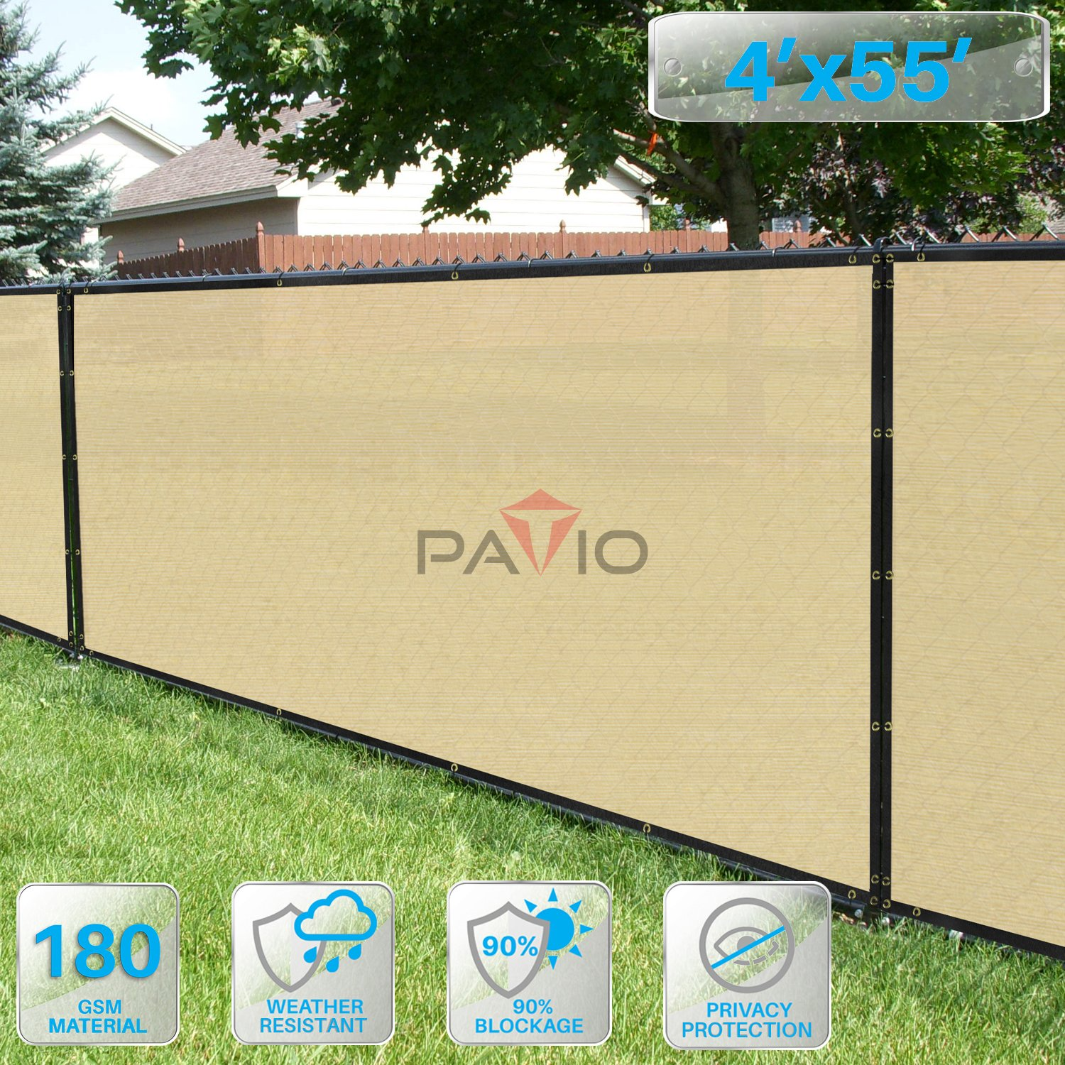 Patio Fence Privacy Screen 4 x 55 , Pergola Shade Cover Canopy Sun Block, Heavy Duty Fence Privacy Netting, Commercial Grade Privacy Fencing, 180 GSM, 90 Privacy Blockage Beige