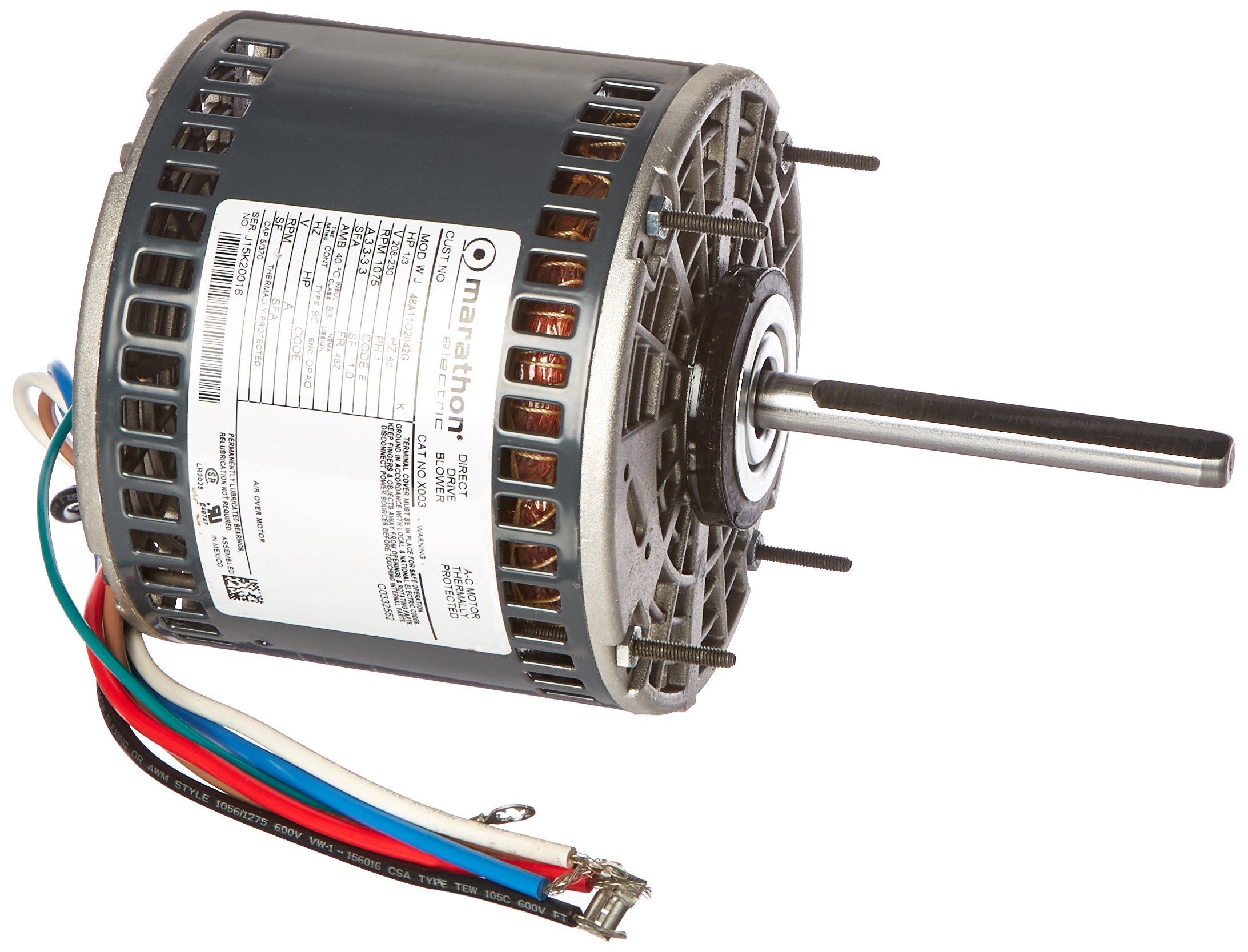 Marathon X003 48Y Frame Open Air Over 48A11OB2042 Direct Drive Motor 1/3 hp, 1075 rpm, 208-230 VAC, 1 Phase, 3 Speeds, Ball Bearing, Permanent Split Capacitor, Thru-Bolt