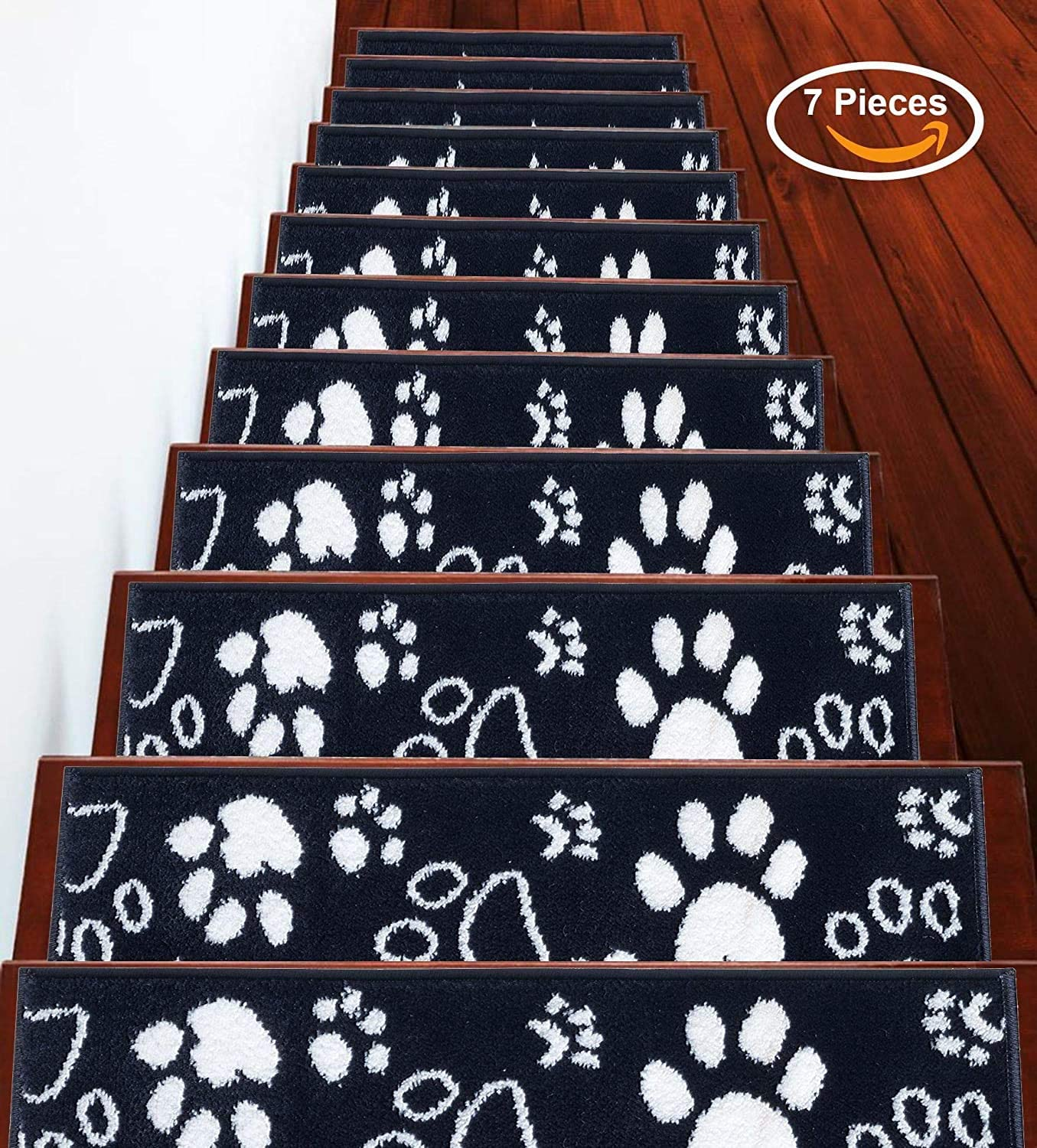 Vibrant and Soft Stair Treads Beige /& White Cozy Pack of 4 Stair Treads Paw Collection Contemporary 9 x 28 | Tape Included 100/% Polypropylene