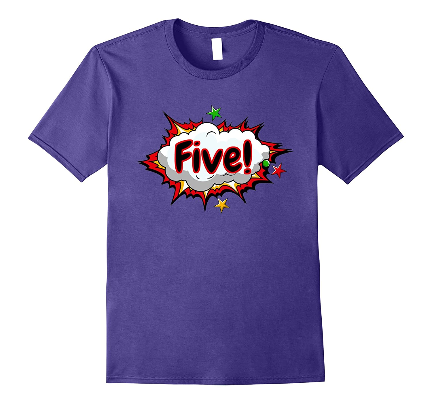 5th Birthday Cool Kids Age Five Comic Superhero T-Shirt-TH