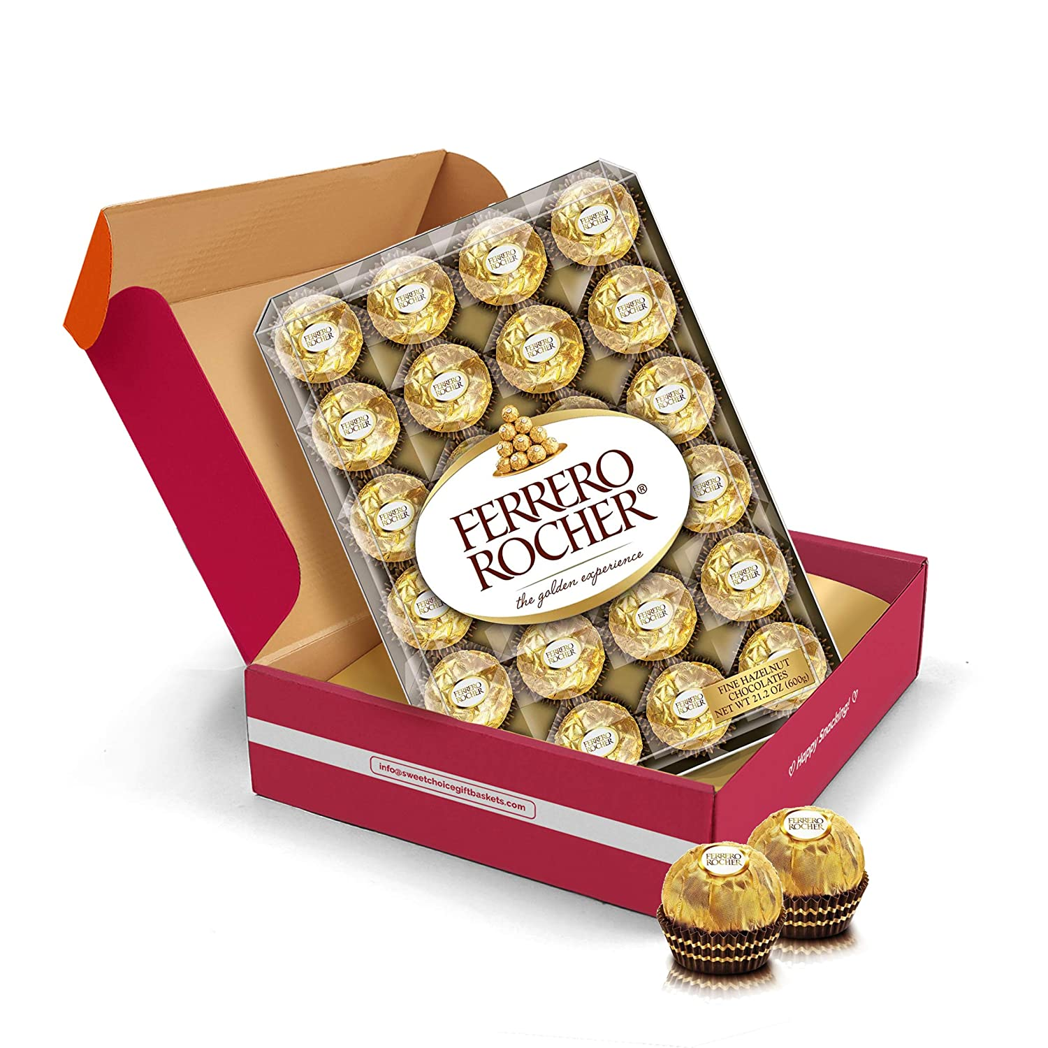 Ferrero Rocher Hazelnut Chocolates Holiday Chocolate Box Variety Pack, (45 pack) Christmas Chocolate Gift Basket - College Student Care Package, Thanksgiving, Xmas