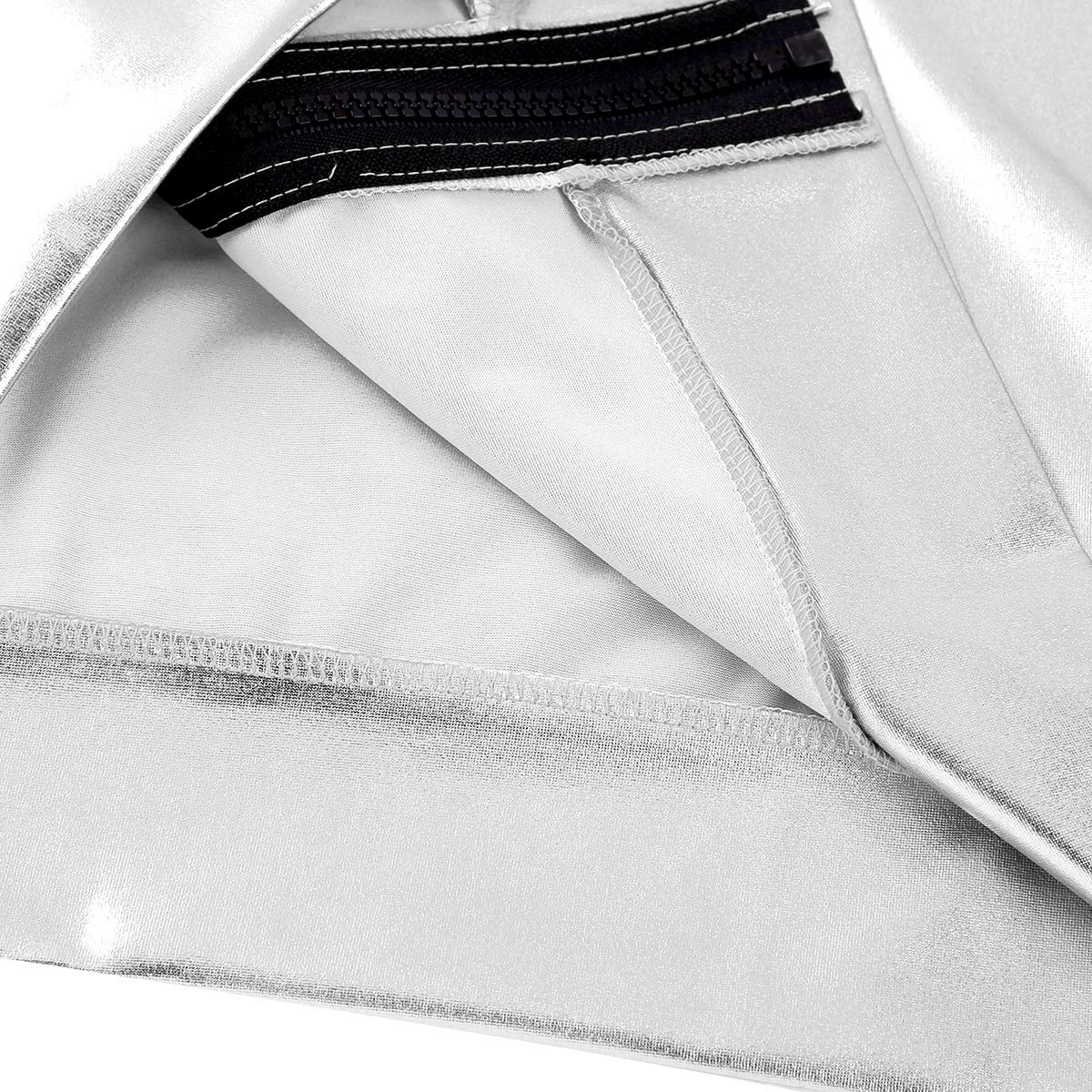 dPois Mens Shiny Metallic Sleeveless Hooded Front-Zip Drawstring Tank Tops Vest Clubwear