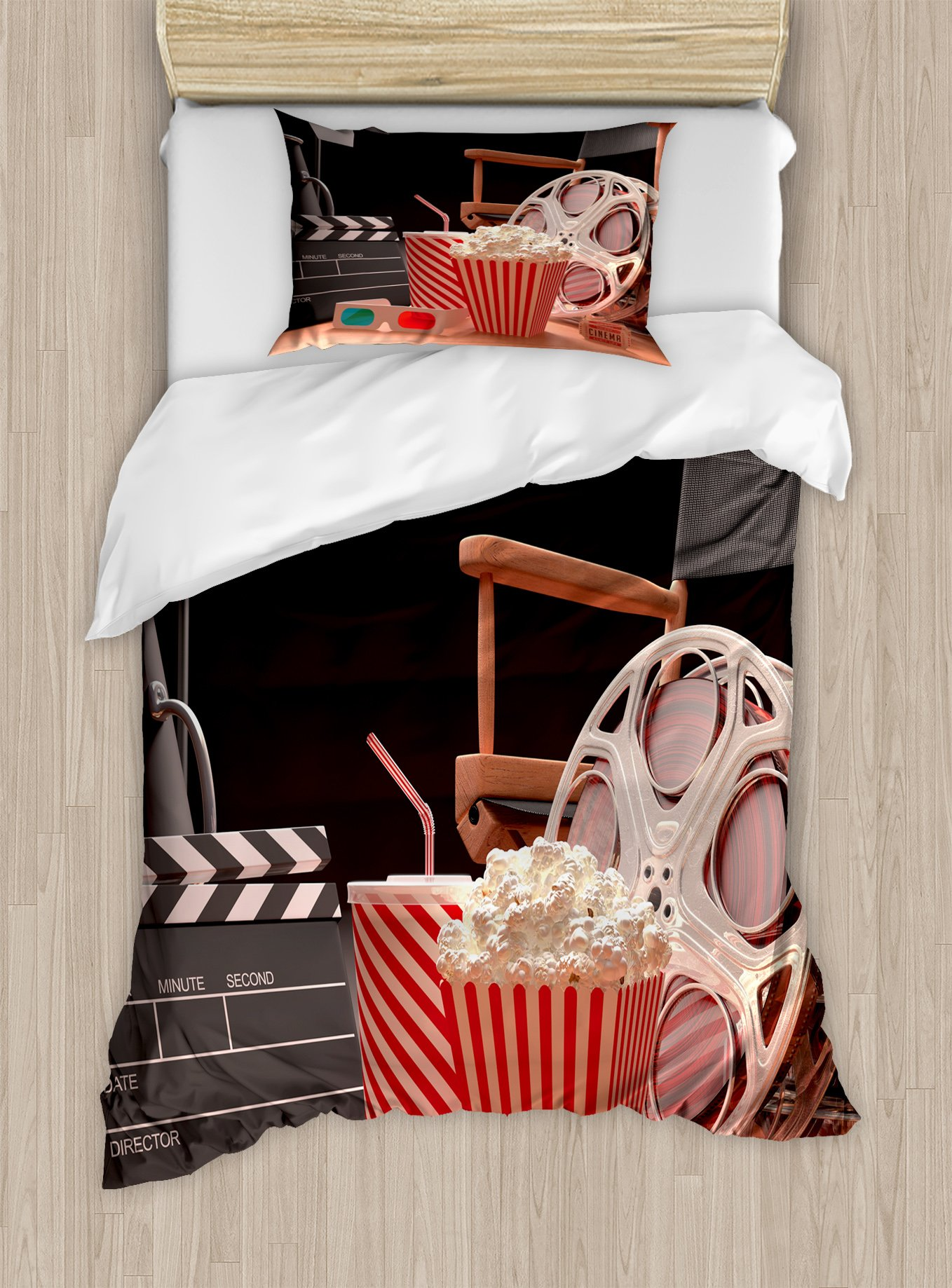 Ambesonne Movie Theater Twin Size Duvet Cover Set, Objects of The Film Industry Hollywood Motion Picture Cinematography Concept, Decorative 2 Piece Bedding Set with 1 Pillow Sham, Multicolor