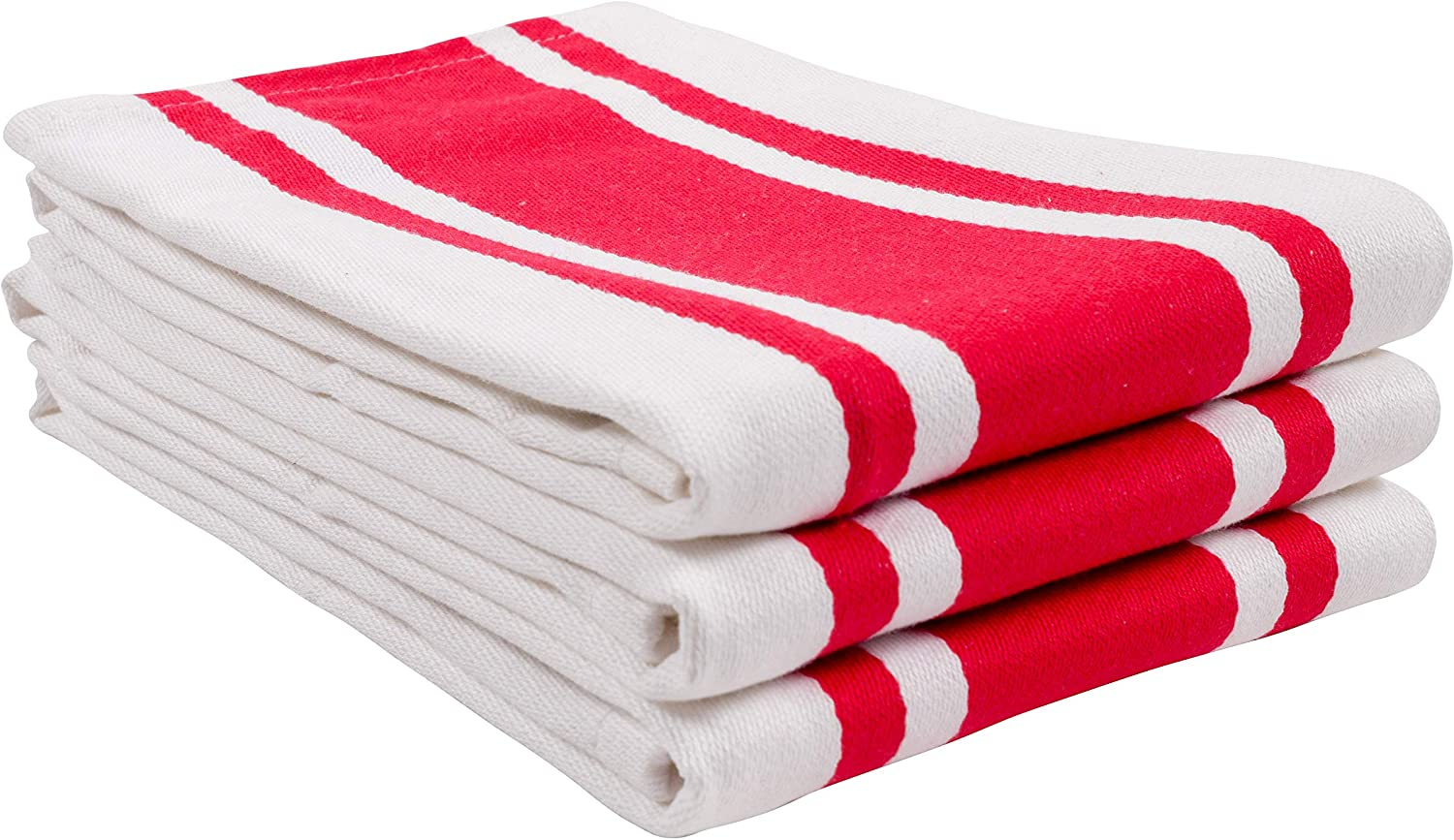 KAF Home Union Stripe Kitchen Dish Towel Set of 3, Plush, Absorbent, 100-Percent Cotton, 18 x 28-inch (Red)