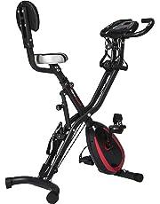 Ultrasport F-Bike 400BS - Bicicleta estática plegable con respaldo, tracción, pantalla y App, Mate Negro, 81 x 43 x 113 cm