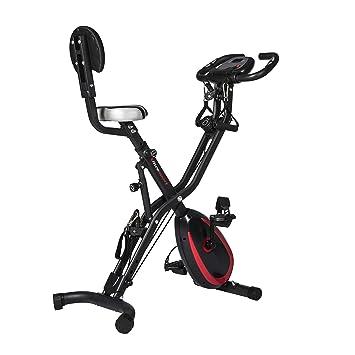 Ultrasport F-Bike 400BS - Bicicleta estática plegable con respaldo, tracción, pantalla y App, Mate Negro, 81 x 43 x 113 cm: Amazon.es: Deportes y aire libre