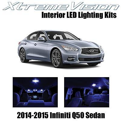XtremeVision Interior LED for Infiniti Q50 Sedan 2014-2015 (10 Pieces) Blue Interior LED Kit + Installation Tool: Automotive