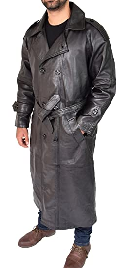 439772c0eb4 A1 FASHION GOODS Mens Full Length Trench Leather Coat Black Double Breasted  with Waist Belt Long