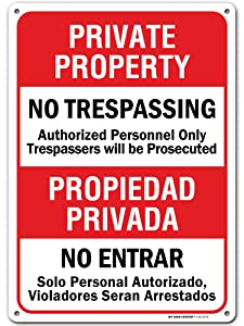"""No Trespassing Signs Private Property, Bilingual English/Spanish 10"""" x 14"""" Industrial Grade Aluminum, Easy Mounting, Rust-Free/Fade Resistance, Indoor/Outdoor, USA Made by MY SIGN CENTER"""