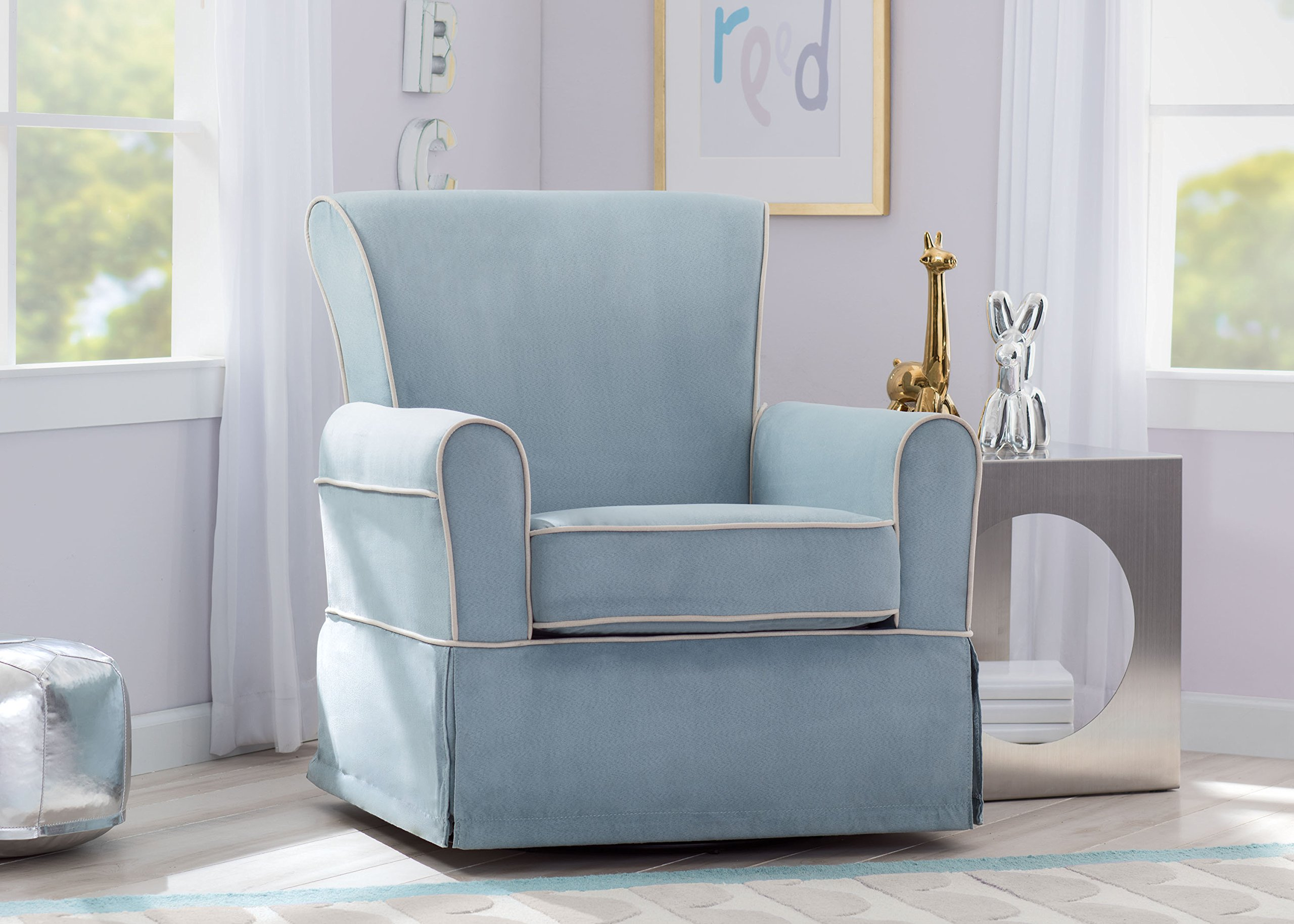 Delta Furniture Benbridge Upholstered Glider Swivel Rocker Chair, Frozen Blue with Cream Welt by Delta Furniture (Image #5)
