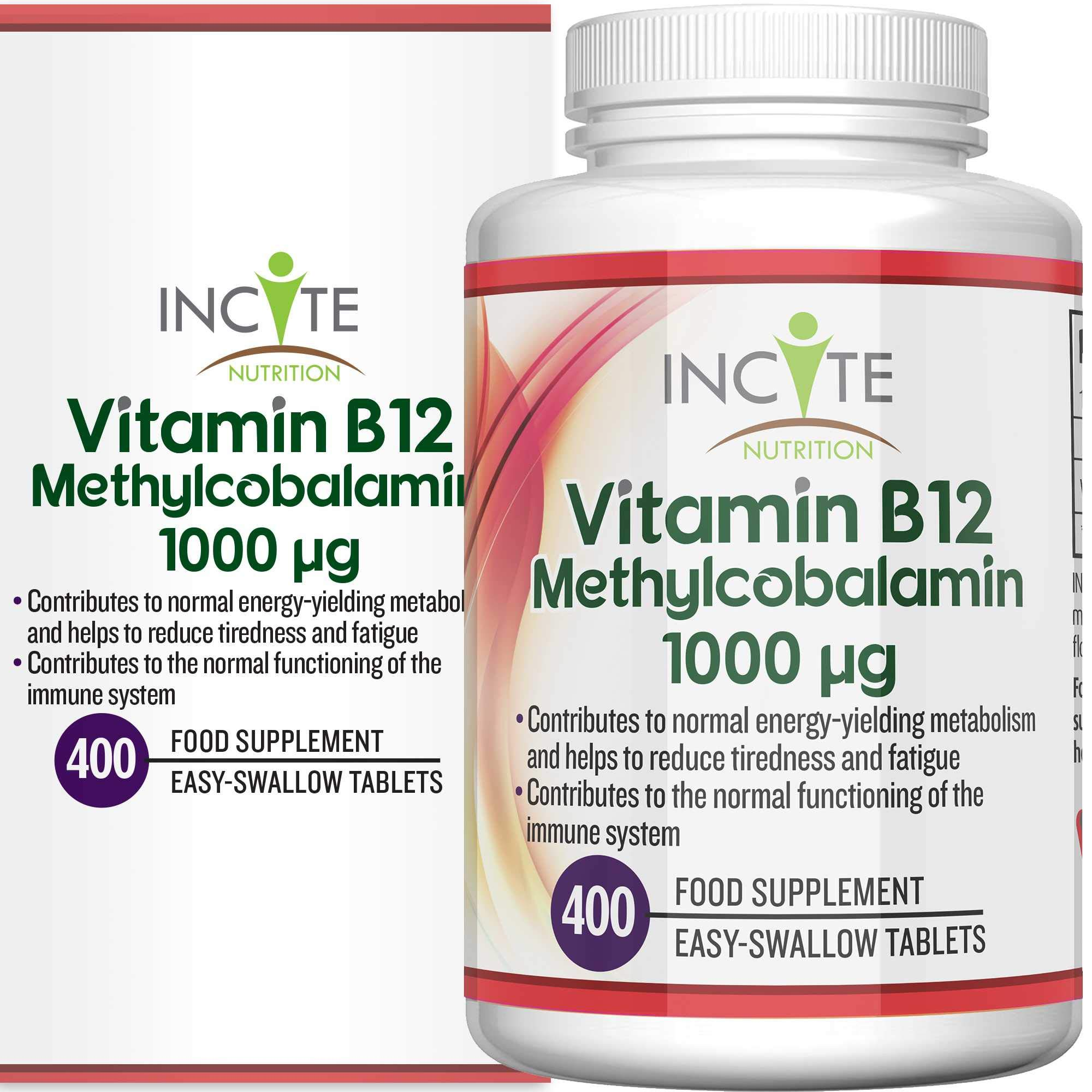 Vitamin B12 1000mcg | Methylcobalamin 400 Easy Swallow Vegan Tablets (13 Month's Supply) | High Strength Quality Vitamin B12 | Suitable for Vegetarian | Made in The UK by Incite Nutrition®
