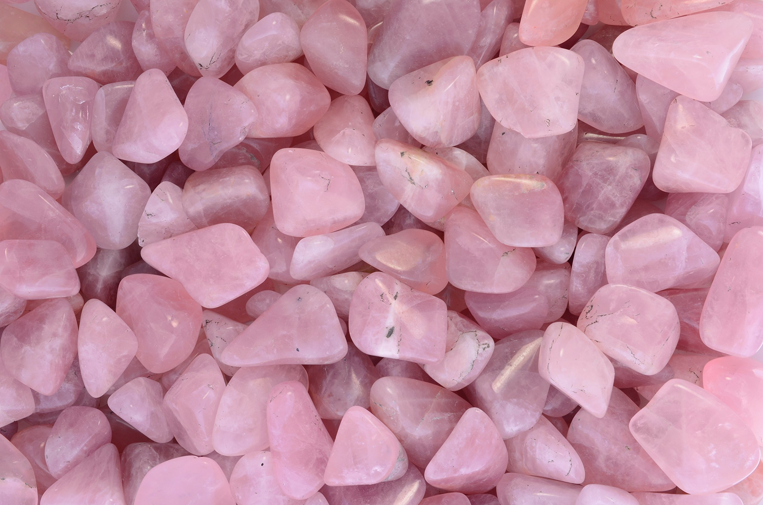 Fantasia Materials: 5 lbs Tumbled Rose Quartz Stones from Madagascar - Small - 0.75'' to 1.25'' Avg. - Premium Polished Rocks for Art, Crafts, Decoration, Landscaping, Fountains, Reiki and More!