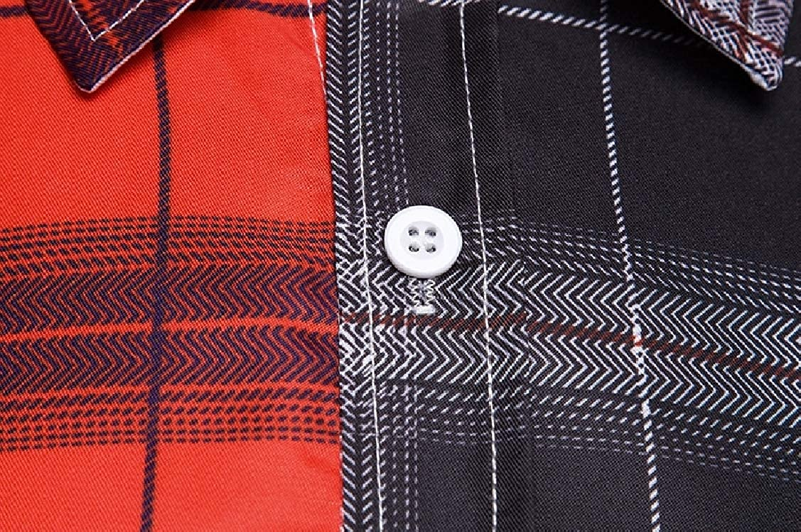Coolred-Men Oversize Hit Color Classics Plaid Tees Polo Shirts