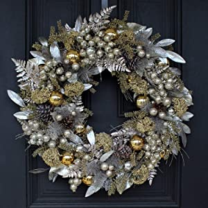 Darby Creek Trading Silver & Gold Mixed Metallic Modern Front Door Christmas Wreath with Magnolia Leaves, Pinecones & Ornaments