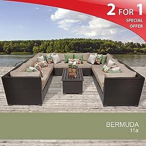 Bermuda 11 Piece Outdoor Wicker Patio Furniture Set - Wheat 11A 2 Yr Fade Warranty