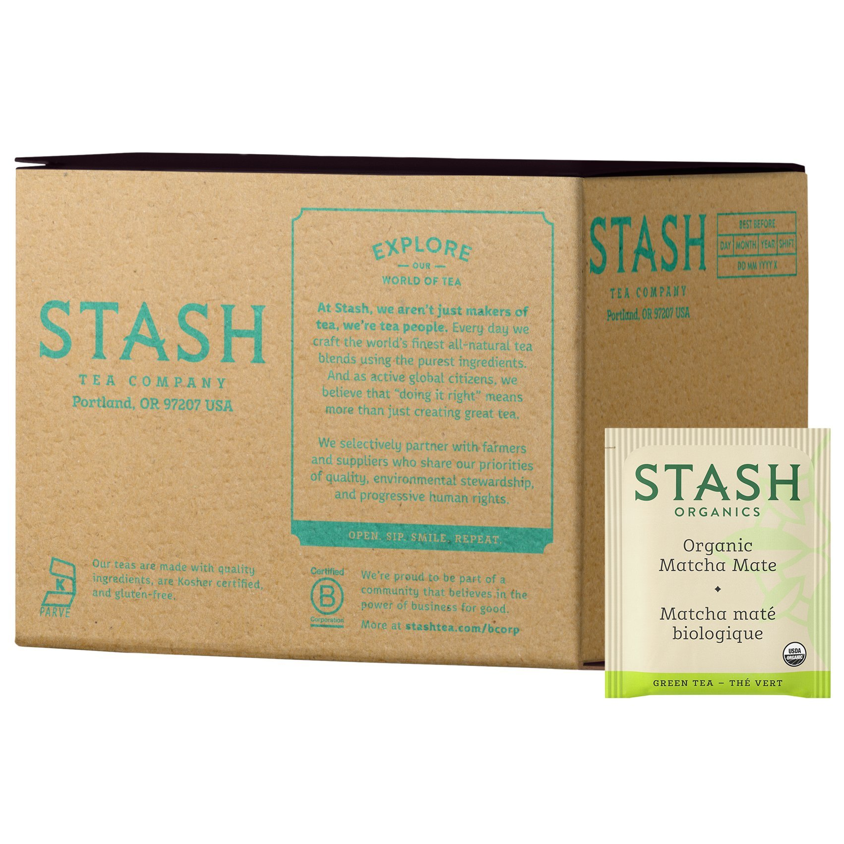 Stash Tea Organic Matcha Mate Tea Blend of Matcha Green Tea & Yerba Mate 100 Count Box of Tea Bags in Foil by Stash