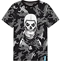 Fortnite Camiseta Niño De Manga Corta, Camiseta De Algodón con Estampado De Camuflaje, Ropa Gamer con Skull Trooper…