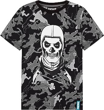 Fortnite Camiseta Niño De Manga Corta, Camiseta De Algodón con Estampado De Camuflaje, Ropa Gamer con Skull Trooper, Regalos para Niños 7-14 Años