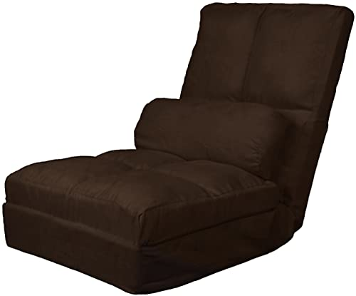 Cosmo Click Clack Convertible Futon Pillow-Top Flip Chair Child-size Sleeper Bed, Microfiber Suede Chocolate Brown