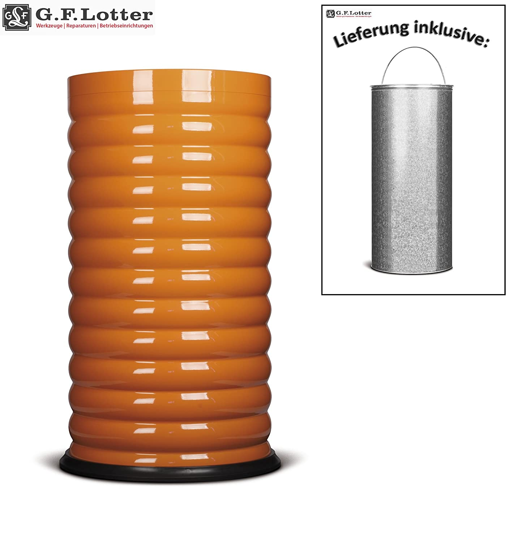 GF-Lotter Design-Abfalleimer  Lumes 2K5  feuerhemmend [Vol.52 Liter; ØxH 38x73cm], Stahlblech fresh-Orange