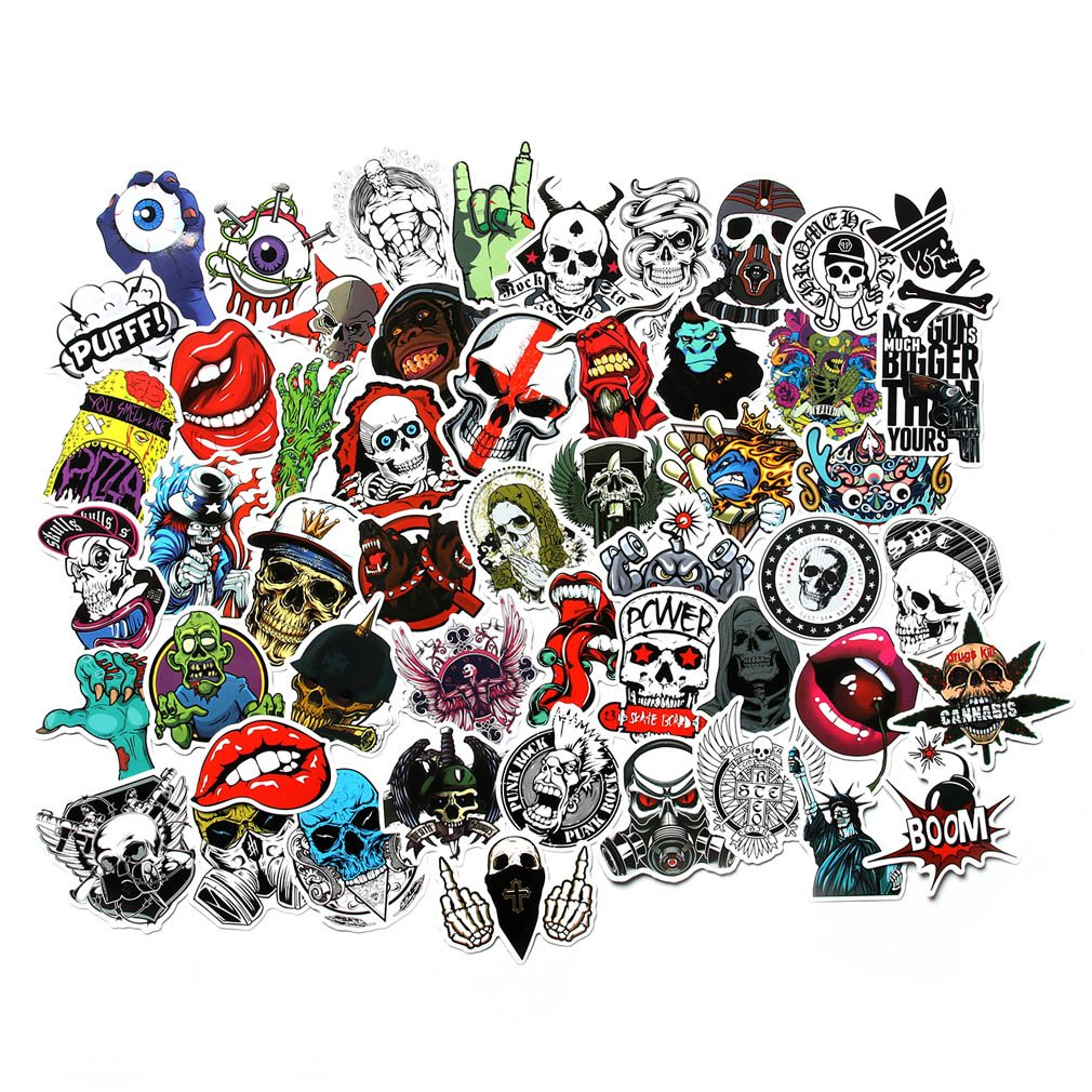 Fngeen cool stickers pack for laptop horror skull crazy stickers and decals car luggage bicycle motorcycle computer skateboard snowboard water bottle