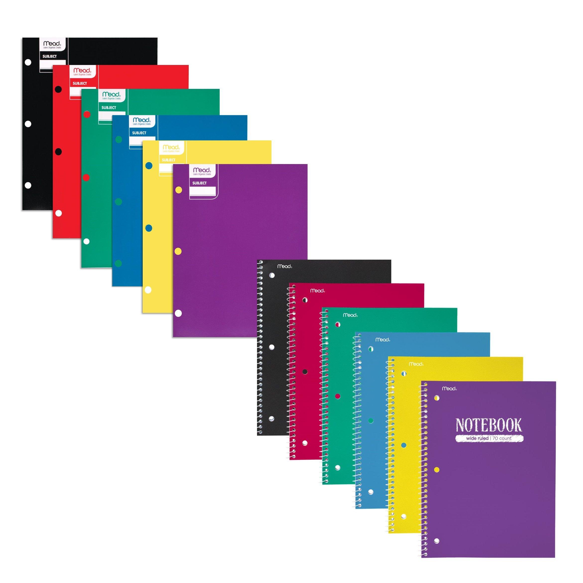 Mead School Supplies 12 Pack: 6 Spiral Notebooks, 6 Pocket Folders, Purple, Green, Yellow, Red, Black, Blue, 12 Pack (38535)