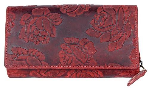 Cartera de cuero genuino de color rojo oscuro con estampado de flores ornamentales: Amazon.es: Zapatos y complementos
