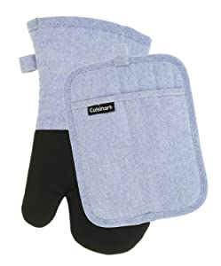 Cuisinart Kitchen Oven Mitt/Glove & Rectangle Potholder with Pocket Set- Neoprene for Easy Gripping, Heat Resistant up to 500 Degrees F, Chambray Kitchen Accessories- Light Blue
