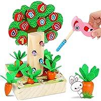 LETOMY Juego Infantil Magnetico 3 en 1, Juguetes Montessori Educativo, Rompecabezas Juegos de Madera Zanahorias…