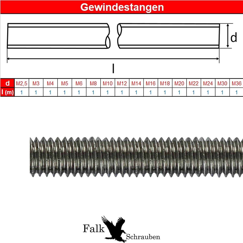 1 Meter Falk-Schrauben Gewindestange M5 Edelstahl V2A DIN 975//976 Gewindebolzen Gewindestab Gewindespindel Trapezspindel Trapezgewindespindel 5 St/ück
