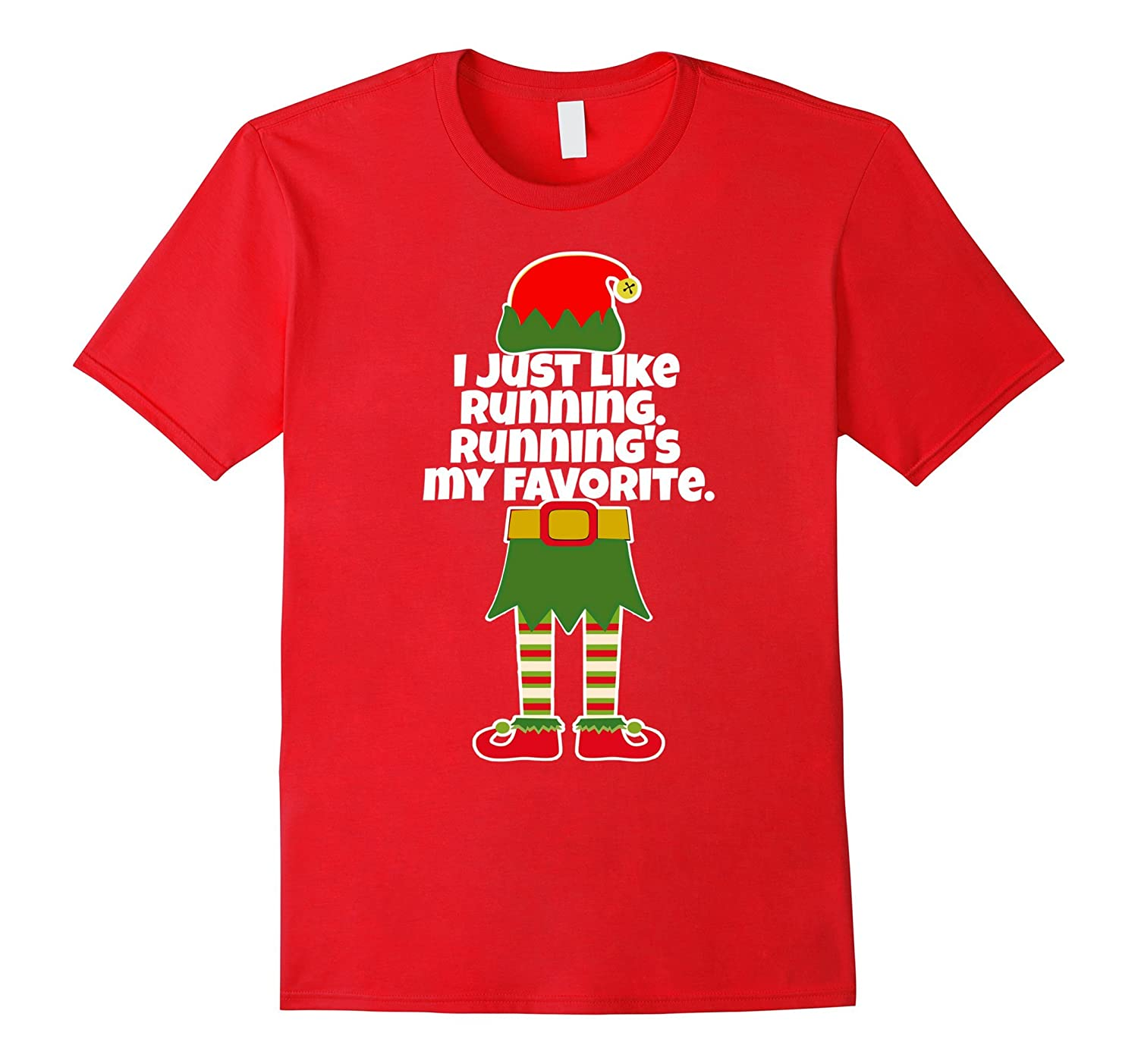 I Just Like to Run Running Runner Christmas Elf JogT Shirt-ANZ ...