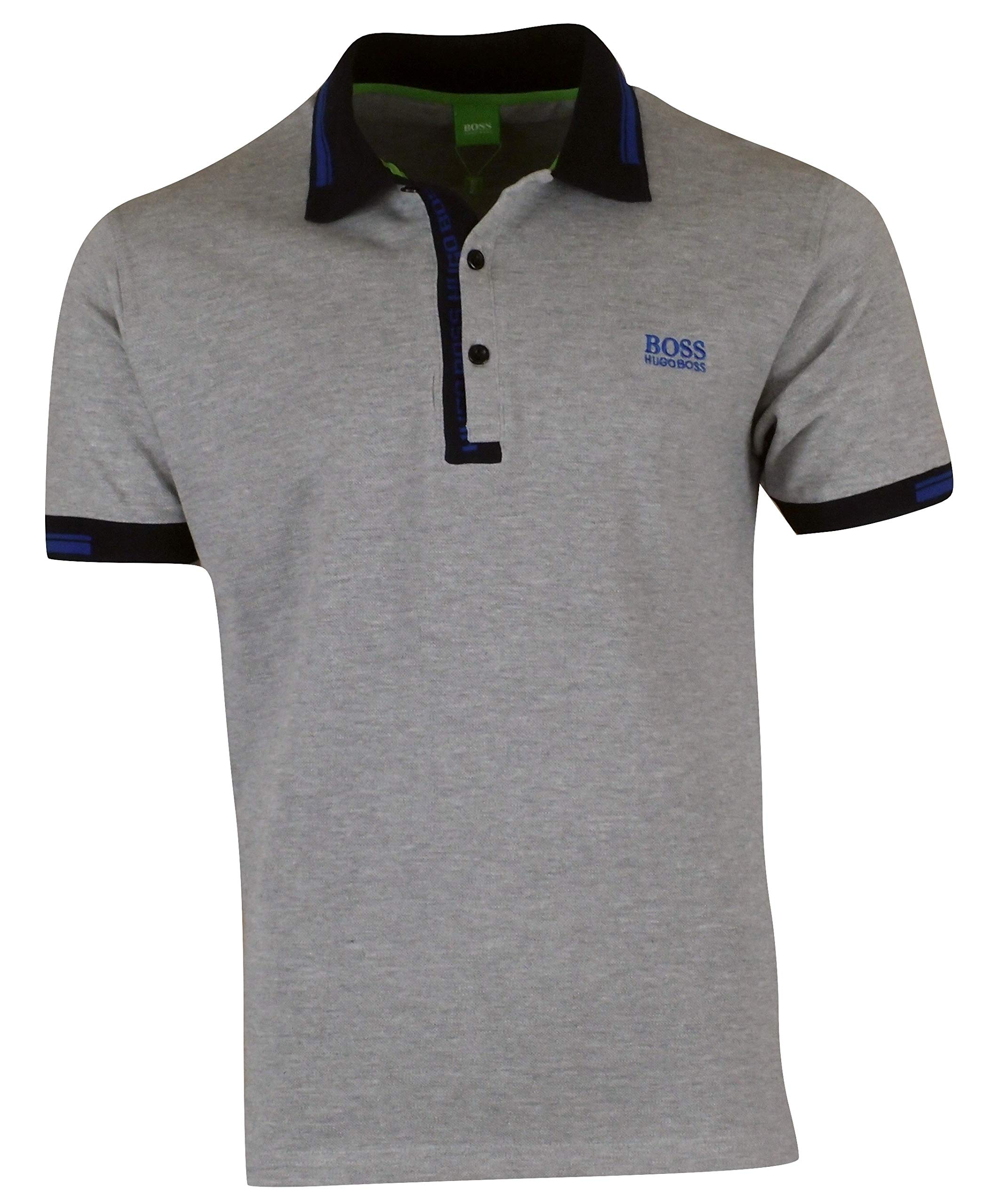 Hugo Boss Men's Paule 4 Blue Logo Collar Detail Short Sleeve Slim Fit Polo Shirt - Gray (Medium)