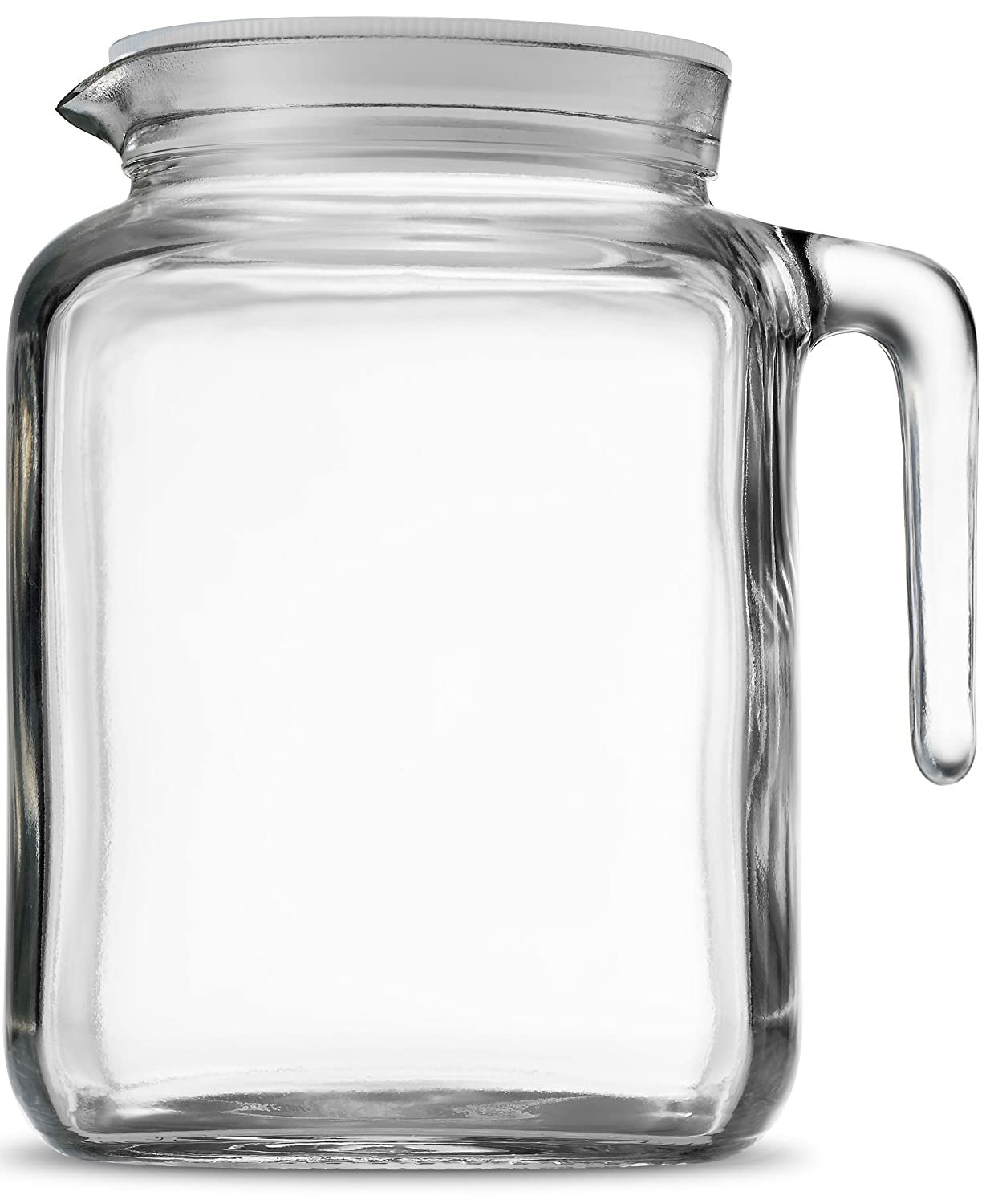 Bormioli Rocco Hermetic Seal Glass Pitcher With Lid and Spout [68 Ounce] Great for Homemade Juice & Cold Tea or for Glass Milk Bottles
