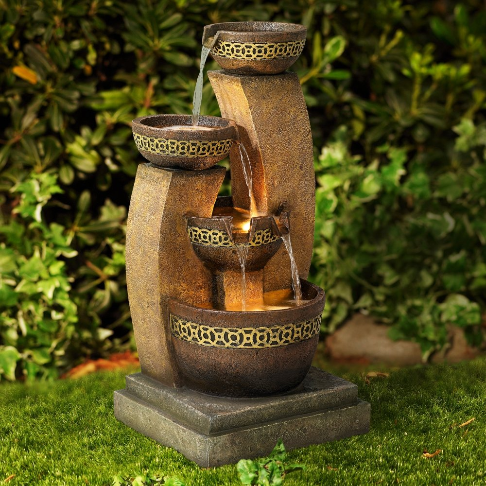 Four Bowl 41 1/2'' High Cascading Fountain by John Timberland (Image #3)